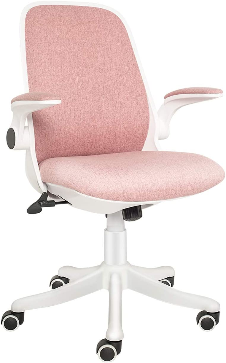 ELECWISH Office Chair Ergonomic Desk Chair Mid Mesh Back Swivel Seat Adjustable Lumbar Support Executive Chair with Flip up Armrests (Pink)
