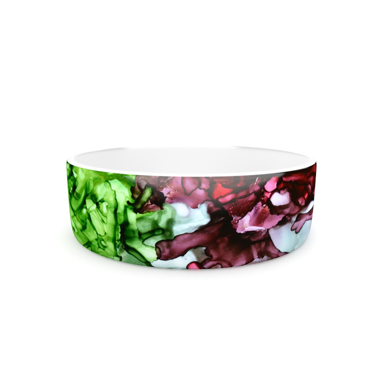 Kess InHouse Claire Day TMNT Pet Bowl, 7-Inch, Green Maroon
