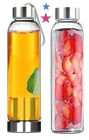 Infusor de té y juego de botellas de agua de cristal - par ...
