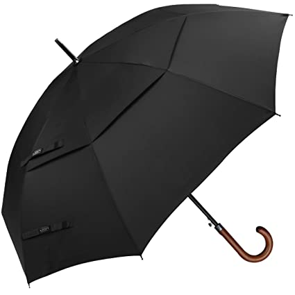 797f437ef7072 G4Free 52/54/62 inch Wooden J Handle Golf Umbrella, Vented UV Protection  Double Canopy Classic Hook Umbrella, Windproof Auto Open Large Oversized  Cane Stick ...