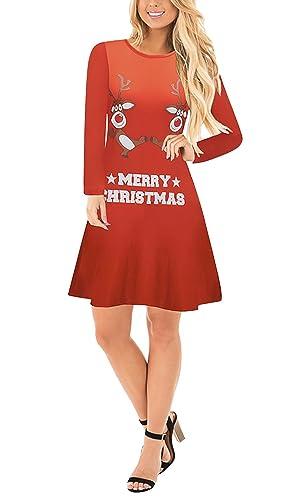 Dolamen Donna Vestiti Abito di Natale, Vestito da swing Natale Donna Stampato Party matrimonio Abiti Santa Renna Muro Pupazzo di neve Fiocco di neve Saltatore Maglione (Color 10, Medium)