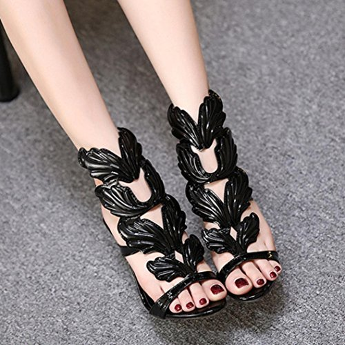 Inkach Womens Summer Thin Heel Sandals - Fashion Dream Wing Shaped Ankle Wrap Buckle Shoes Black OWpMrn5Se