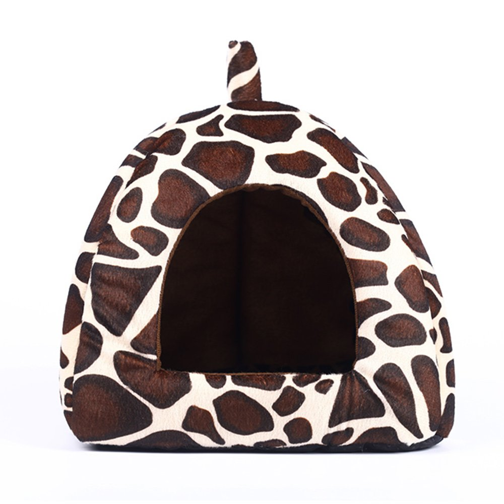 Spring Fever Strawberry Guinea Pigs Fleece House Rabbit Cat Pet Small Animal Bed Leopard M (14.214.20.8 inch) by Spring Fever