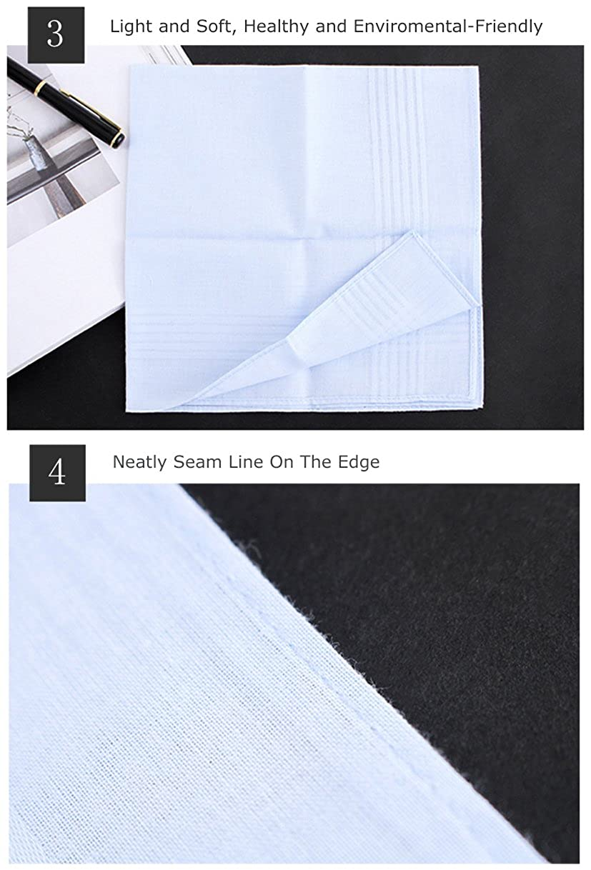Houlife 100/% Cotton Mens Handkerchiefs White Stripe Soft Checked Pattern Hankies 6//12 Pieces 15.7x15.7