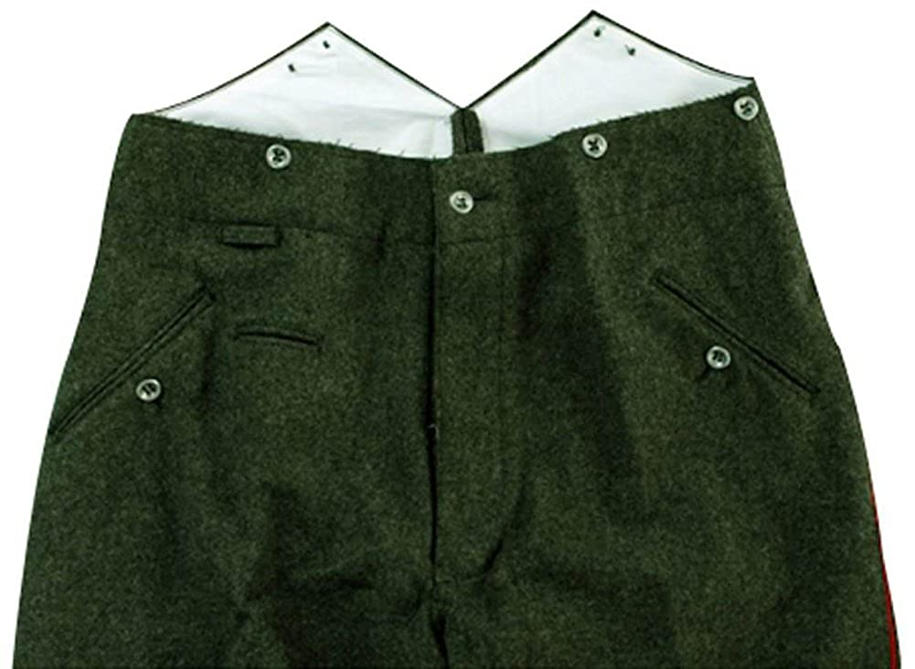 1940s Trousers, Mens Wide Leg Pants WWI German Empire M1907 Red Pipped Feld Geey Wool Trousers $147.53 AT vintagedancer.com