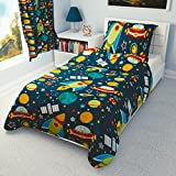 Children's Duvet Cover and Pillowcase Cot/ Cot bed/ Toddler Bed/ Single bed - space ships, Rockets (120x150 cm)