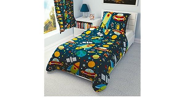 Funda de edredón y funda de almohada, diseño de naves espaciales y cohetes, ideal para cama infantil o cuna , algodón, azul, 90x120 cm: Amazon.es: Hogar