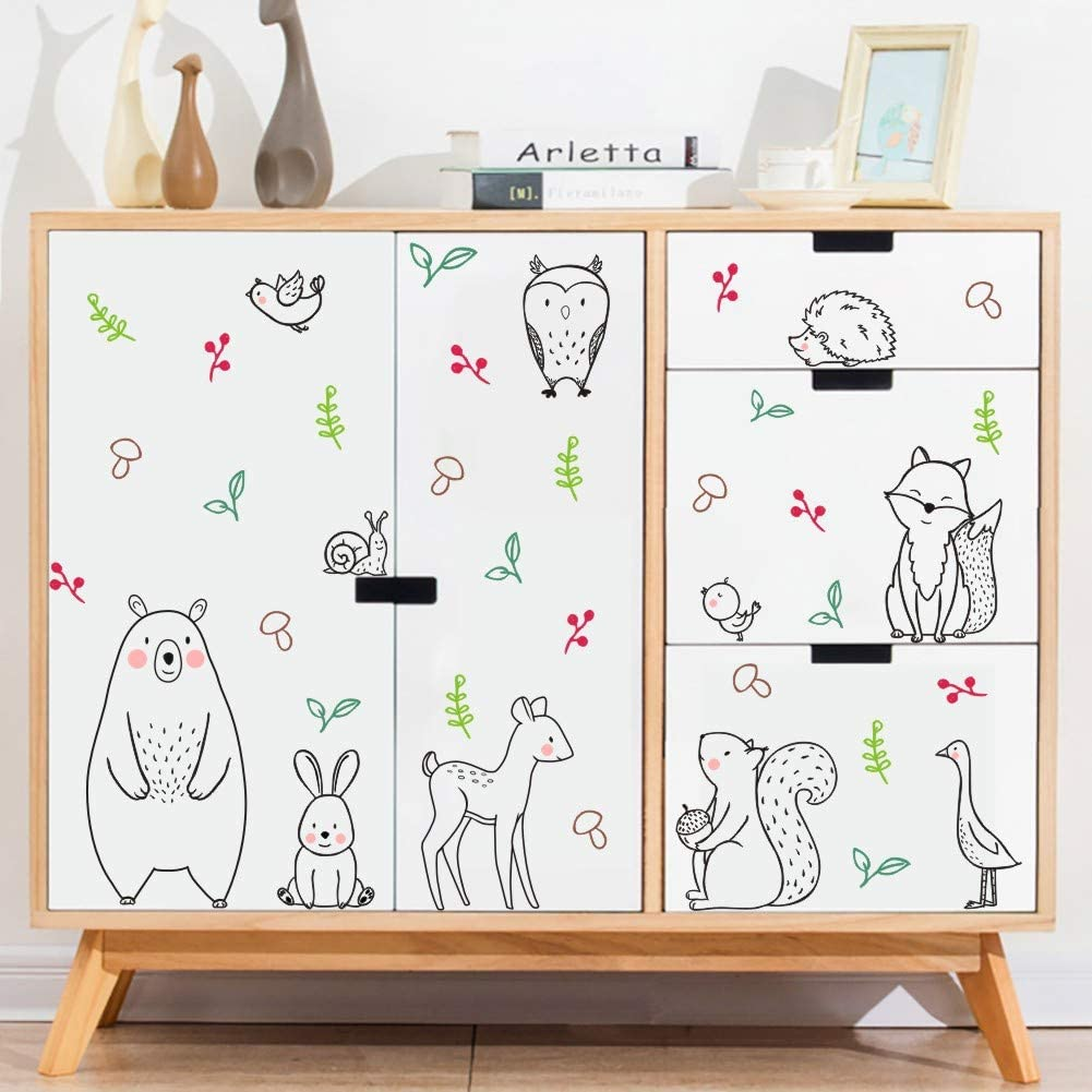 56pcs Black /& White Jungle Animal Nursery Kids Stickers for Playroom Decor Safari Woodland Animals Wall Sticker Bear Deer Rabbit Wall Decal