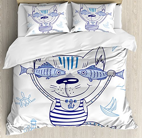 Ambesonne Ocean Animal Decor Duvet Cover Set, Naughty Cat with Fish in Striped T-Shirt Anchor Pendant and Nautical Sign, 3 Piece Bedding Set with Pillow Shams, Queen/Full, Blue Grey