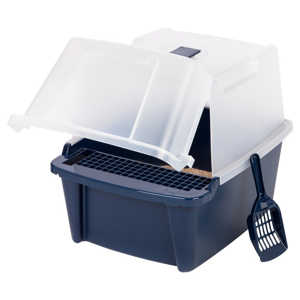 (with Scoop & Grate, Navy) Iris Split-lid Hooded Litter Box W Scoop Paw Cleaning Grid, Large, Navy, New