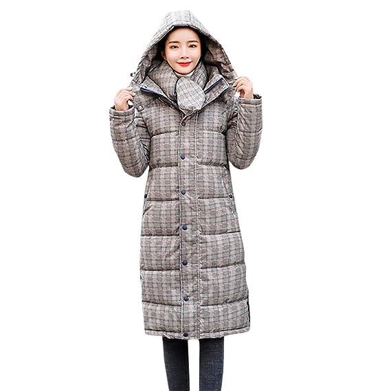 Doudoune Veste à Capuche Imprimé Plaid Femmes,Hoodie Coat Épaissir  Rembourrée Long Blouson Chaud Outdoor 604c0525e8b