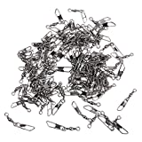 100pcs Barrel Swivel w/ Snap Connector Solid Rings Fishing Pin Connector