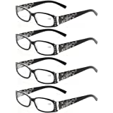 744581df97f0 Kerecsen 4 Pairs Ladies Reading Glasses Spring Hinge with Laser Pattern  Readers
