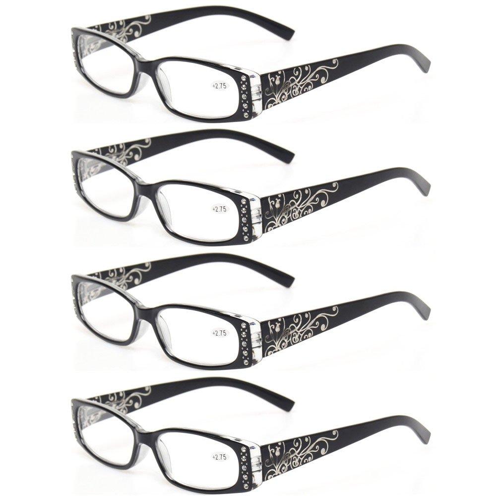 5b4d07661465 Amazon.com  Reading Glasses 4 Pairs Ladies Readers Spring Hinge with Laser  Pattern Eyeglasses for Women (4 Pack Black