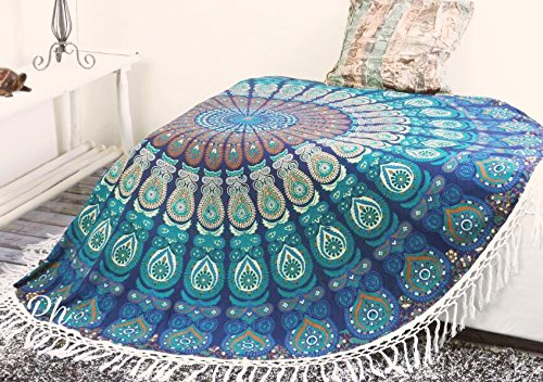 Tapestry Cotton Throw - Popular Handicrafts Round Tapestry Indian Mandala Round Roundie Beach Throw Tapestry Wall Hanging Hippy Boho Gypsy Cotton Tablecloth, Round Yoga Sheet 70