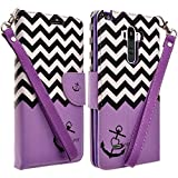 LG G Stylo Case, LG G Vista 2 Case, Magnetic Leather Folio Flip Book Wallet Pouch Case Cover With Fold Up Kickstand and Detachable Wrist Strap For LG G Stylo / LG G Vista 2, Purple Anchor Flip Wallet