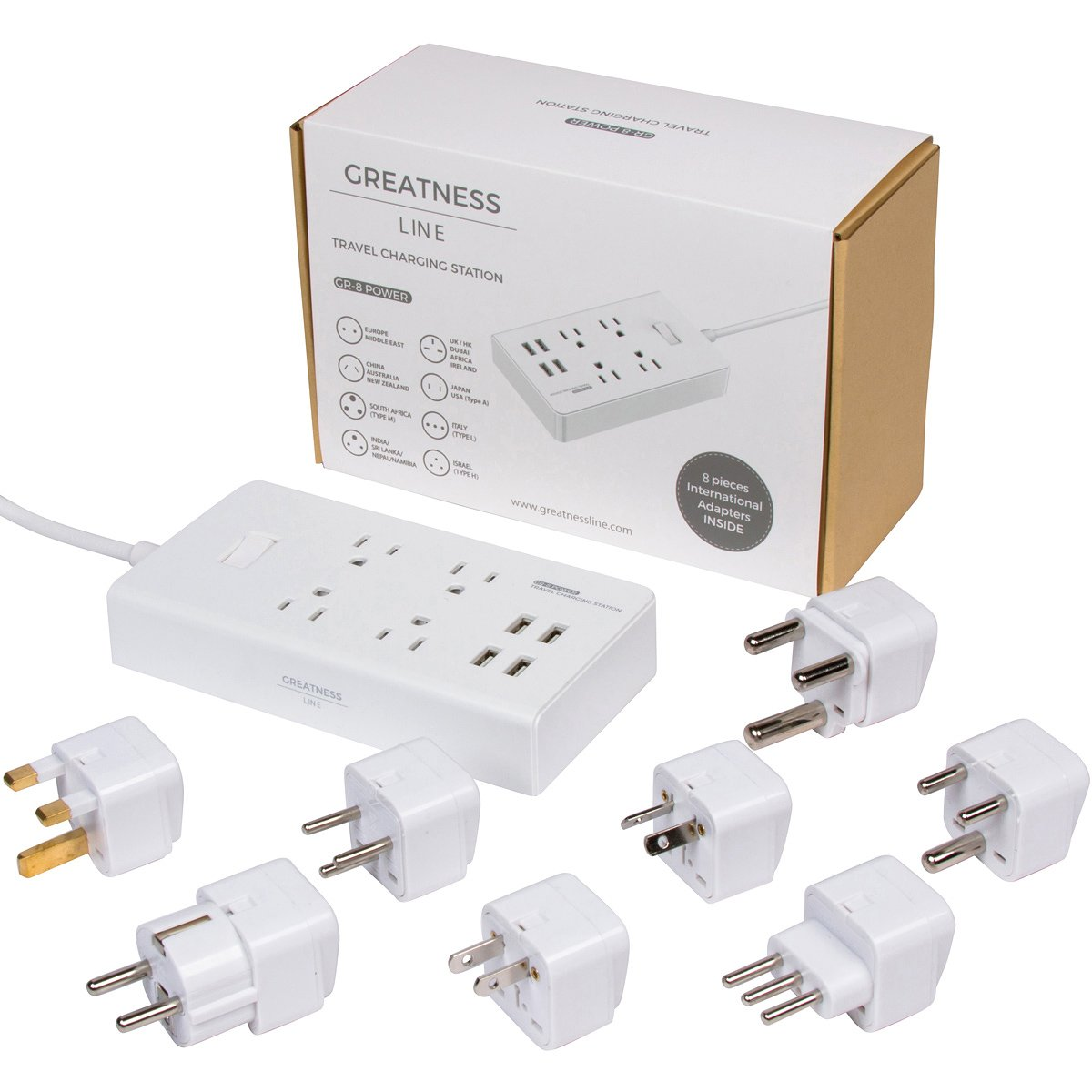 Greatness Line GR-8 Power Compact & Slim Travel Charging Station - International Power Adapter - Surge Protector - Power Strip with 4 Intelligent USB - Free Bonus Included by Greatness Line (Image #1)