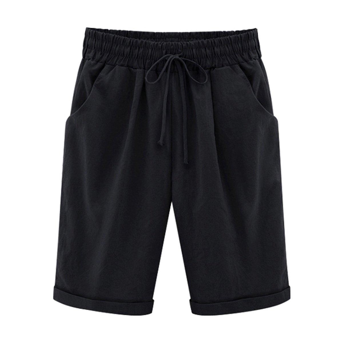 Fuwenni Women's Casual Plus Size Shorts with Elastic Waist Drawstring Black M by Fuwenni