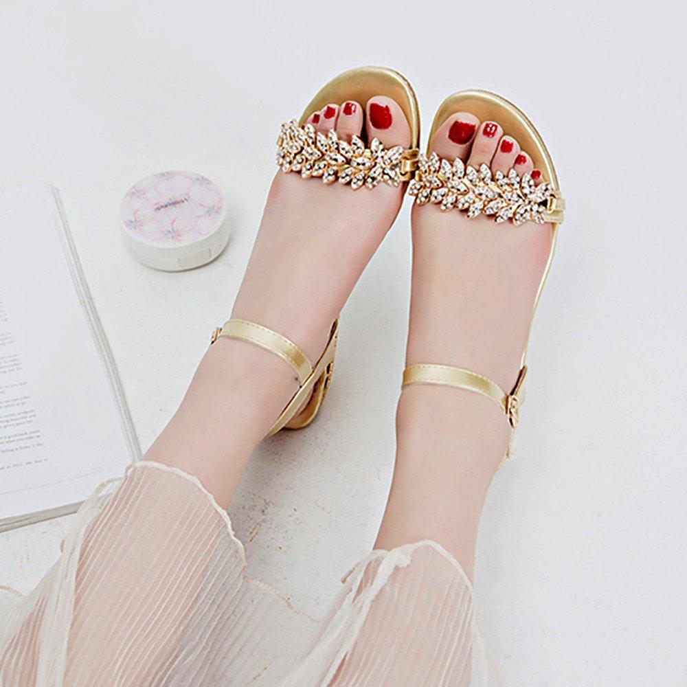 Nevera Women's Low Heel Evening Shoes Dress Party Wedding Sandal Gold