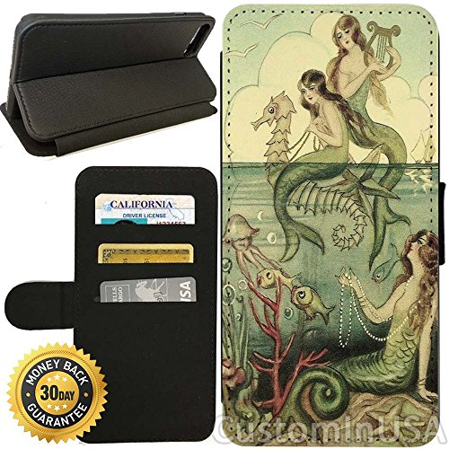 - Flip Wallet Case for iPhone 8 Plus (Vintage Mermaid Seahorse Illustration) with Adjustable Stand and 3 Card Holders | Shock Protection | Lightweight | Includes Free Stylus Pen by Innosub