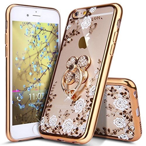 ikasus iPhone 6 Plus Case,iPhone 6S Plus Case, [Glitter Crystal Plating Butterfly Floral] Luxury Bling Diamond Rhinestone Clear TPU Case for iPhone 6/6S Plus 5.5