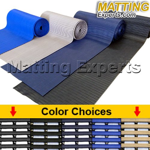 VinGrate Mat Wet Area Floor Matting for Swimming Pool Shower/Locker Room Bathroom Sauna SPA 4-Way Water Drain Indoor/Outdoor Use 3/8'' Thick Non-Slip Comfortable on Barefoot (3' x 10', Navy, 1) by MattingExperts