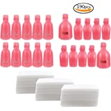 Teenitor Nail Remover Clips Plastic, Toe nail and Finger Nail Soak off Cap Clips UV Gel Polish Remover 20 Pieces with 170 Pack Nail Wipe Cotton Pads-Pink