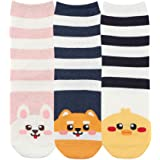 GRISIM Womens Japanese Anime Cute Animal Fun Food Pattern Crew Socks 3-5 Pairs Size 6-9