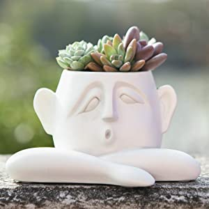 FROZZUR Human Face Shaped Flower Pot, Short White Modern Head Planter, Irregular Garden Pot for Indoor and Outdoor Decorative Plants, Kid Planter Pots with Drainage Holes for Succulent Plants