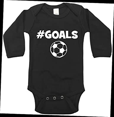 9b7bb3dc6 Hash Tag Goals - Soccer - Funny Baby Bodysuit - Boy Or Girl - Long Sleeved