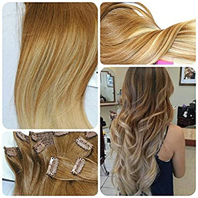 Sunny Full Head 16-24inches 7pcs 120g Balayage Ombre 100% Silk Straight Remy Human Hair Clip in hair extensions for Fashion Hair Color