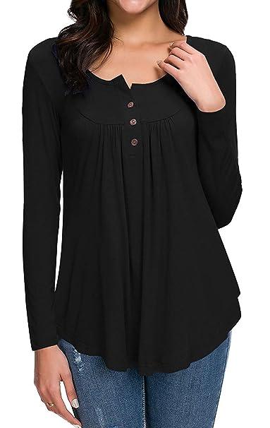 e9bd76c3e HAOMEILI Women's Button up Long Sleeve T-Shirt Casual Blouse Tunic Tops XS  Black
