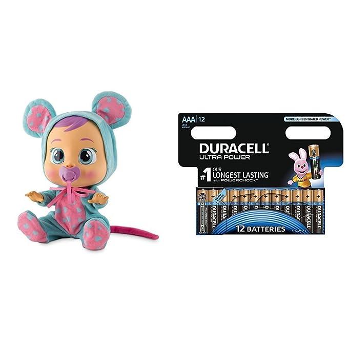 IMC Toys - Bebés llorones - Coney (10598) con Duracell Ultra Power - Pack DE 12 Pilas alcalinas AAA