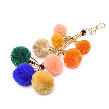Llavero de llavero de pelo, diseño de pompón, con pelotas de ...