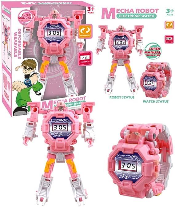 changlong Reloj De Deformación Robot De Juguete Educativo Reloj Electrónico De Dibujos Animados para Niños Modelos De Explosión Regalos Creativos 14x7.5x5.5cm/ Rosa: Amazon.es: Relojes