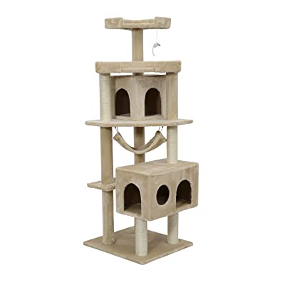 Pawhut Cat Tree Scratcher Post Condo with Hammock, 65 Inch, Beige