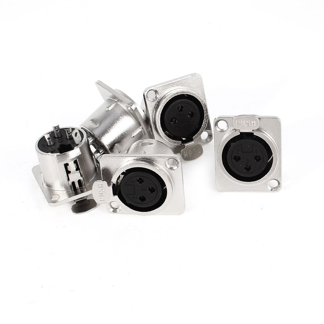 uxcell Metal Audio XLR 3 Pin Female Chassis Panel Mount Socket Connector 5 Pcs Silver Tone