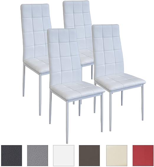 Albatros Sedia per Sala da Pranzo Rimini, Set di 4 sedie, Bianco, SGS Testato
