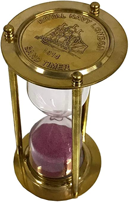 Nautical Brass Hourglass Sand Timer Solid Brass Royal Navy London Sand Timer