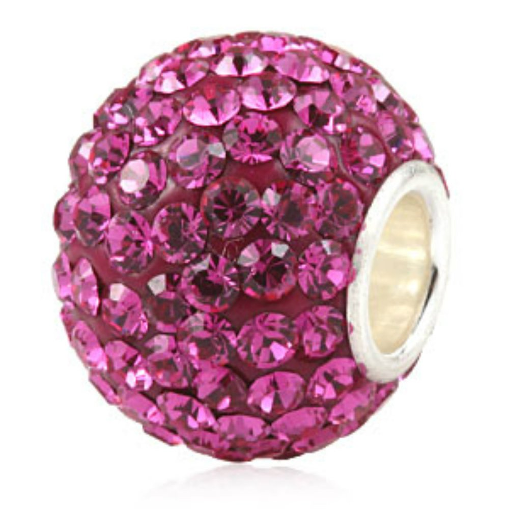 Hot-Pink-Ball-Crystal-Pave-Sparkle-Bling-925-Sterling-Silver-Bead