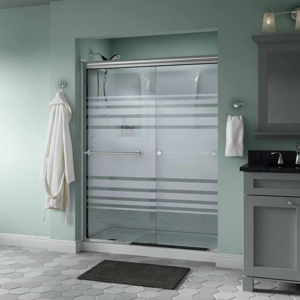 Delta Shower Doors SD3172283 Trinsic 60'' x 70'' Semi-Frameless Traditional Sliding Shower Door in Chrome with Transition Glass