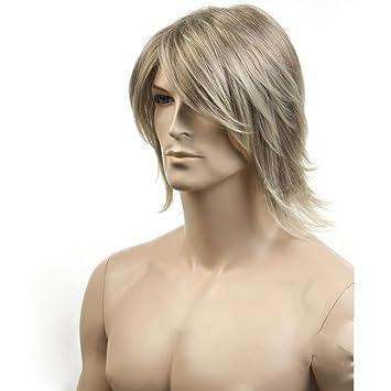 Eday Blonde Perucken Kuhle Mittlere Lange Herren Perucken Naturliche Gerade Seite Fegte Fringe Bang Frisur Frisur Manner Perucken