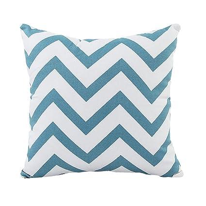 66cd353349d Amazon.com  Decorative Throw Pillow Cover Canvas Cotton Chevron Design 18 X  18 in. (Aqua Blue)  Home   Kitchen