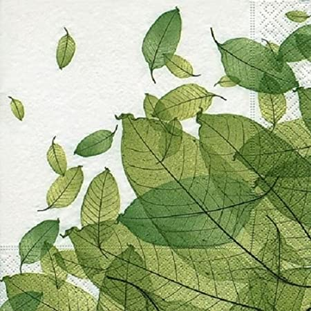 4 x Paper Napkins , Leaves , Ideal for Decoupage / Napkin