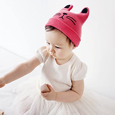 37bc5e4f588 4 Pcs Baby Cat Ear Hat Toddler Cute Kitty Cap Infant Knitted Beanie Warm Winter  Cap  Amazon.co.uk  Clothing