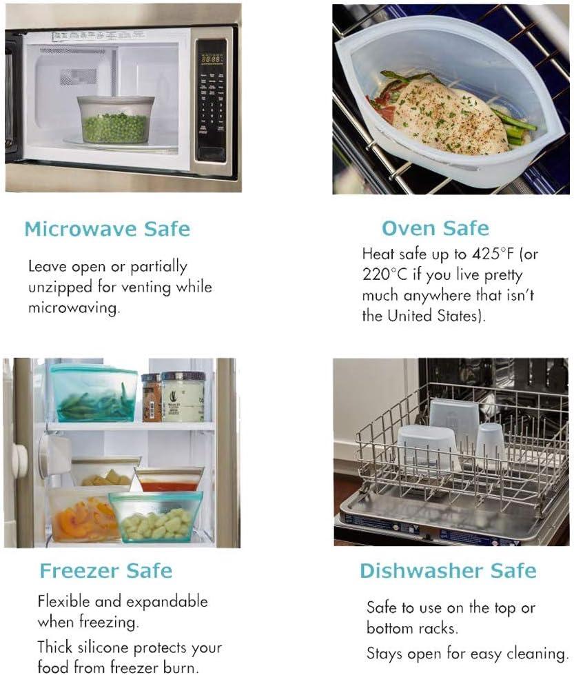 HouseTell Reutilizable Platinum Silicona contenedores sin BPA ...