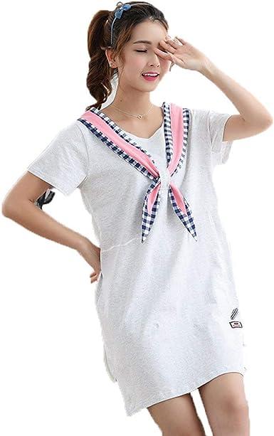 Simple Camiseta Camisón para Mujer Verano Algodón Pijama Ropa Bow ...