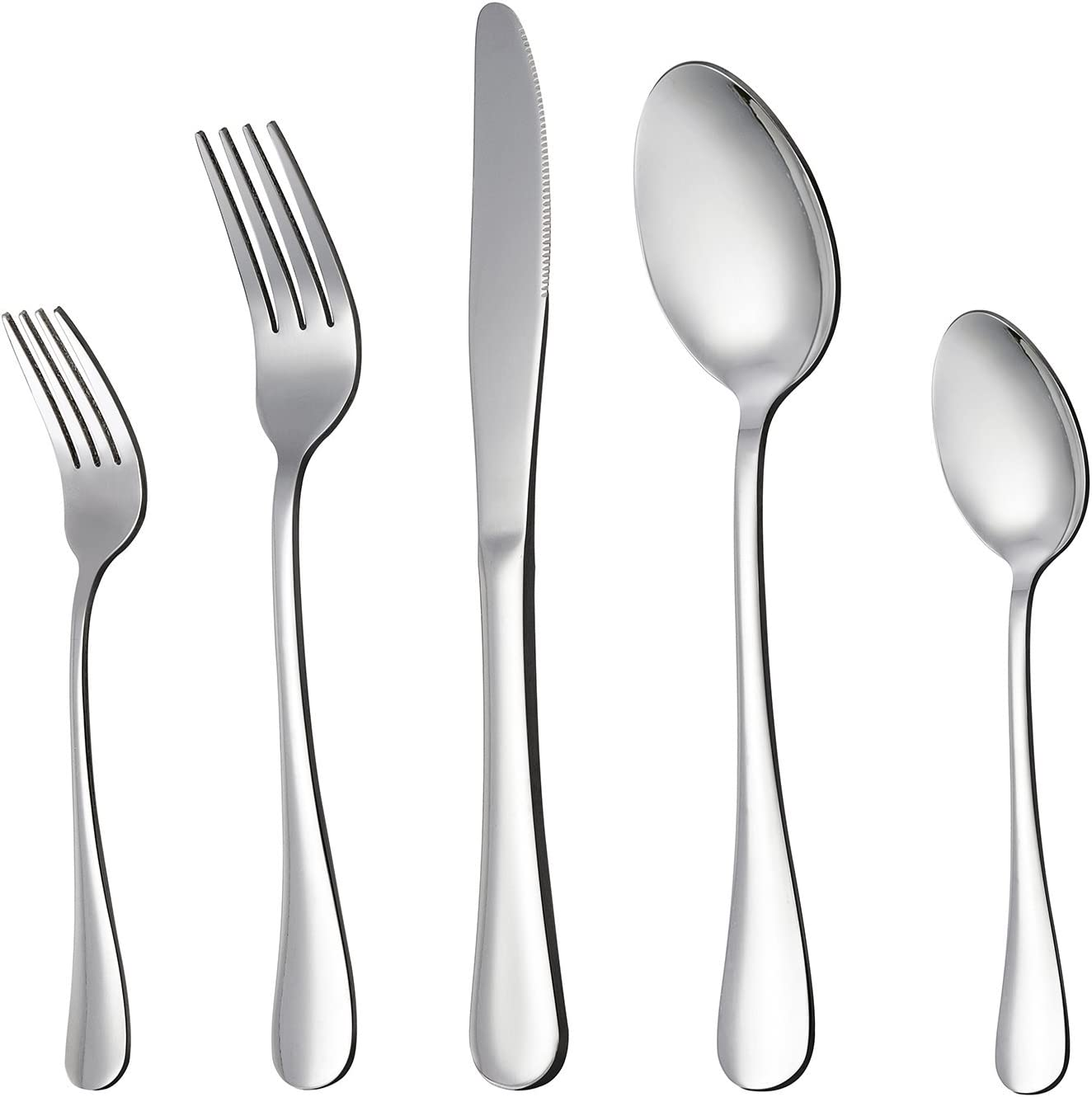 | LIANYU 20-Piece Silverware Flatware Cutlery Set, Stainless Steel Utensils Service for 4, Include Knife/Fork/Spoon, Mirror Polished, Dishwasher Safe: Flatware Sets