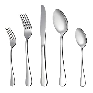 LIANYU 20-Piece Stainless Steel Flatware Silverware Set, Service for 4, Mirror Polished, Include Knife/Fork/Spoon, Dishwasher Safe