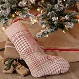 Piper Classics Mill Creek Red Patchwork Christmas Stocking, 12'' x 20'', Country Farmhouse Holiday Seasonal Decor